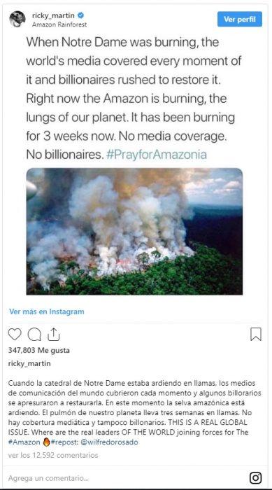 foto del post de Ricky Martin sobre el incendio en el Amazonas