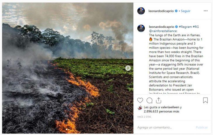 foto de la publicación de Leonardo DiCaprio en Istagram sobre el incendio en el Amazonas