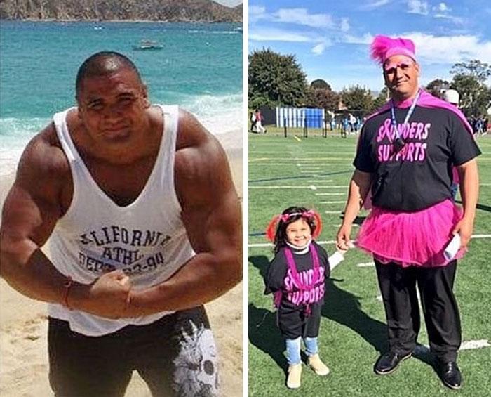 Hombre antes y después de tener una hija