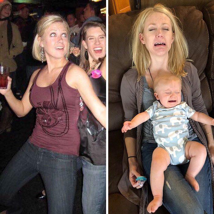 Mujer comparando su vida antes y después de tener un bebé