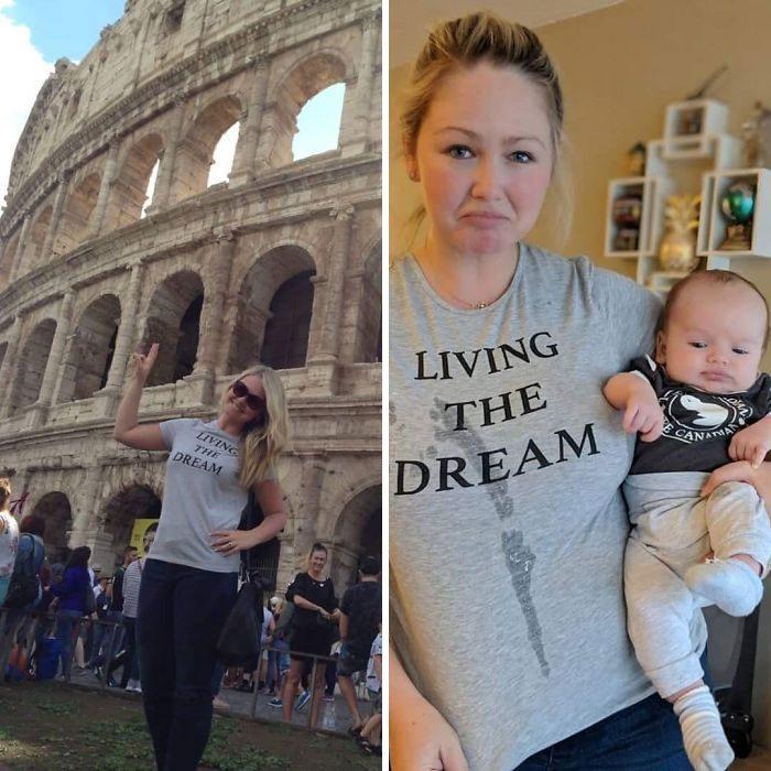 Mujer comparando sus fotos antes y después de tener hijos