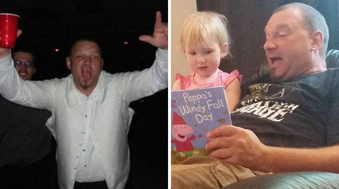 Hombre comparando su vida de antes en la fiesta y leyendo un cuento a su hija
