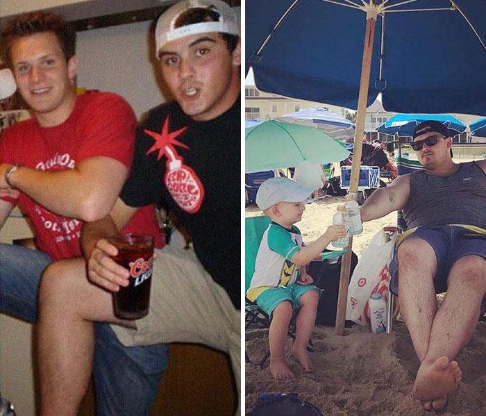 Hombre comparando sus días de fiesta contra sus días de playa junto a su hijo