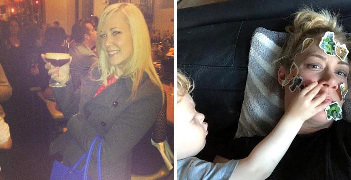 Mujer comparando su días de fiesta contra sus días como madre
