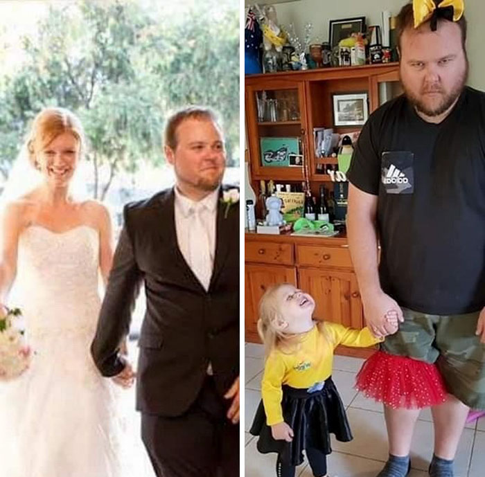 Pareja tomados de la mano para entrar a la iglesia en su boda
