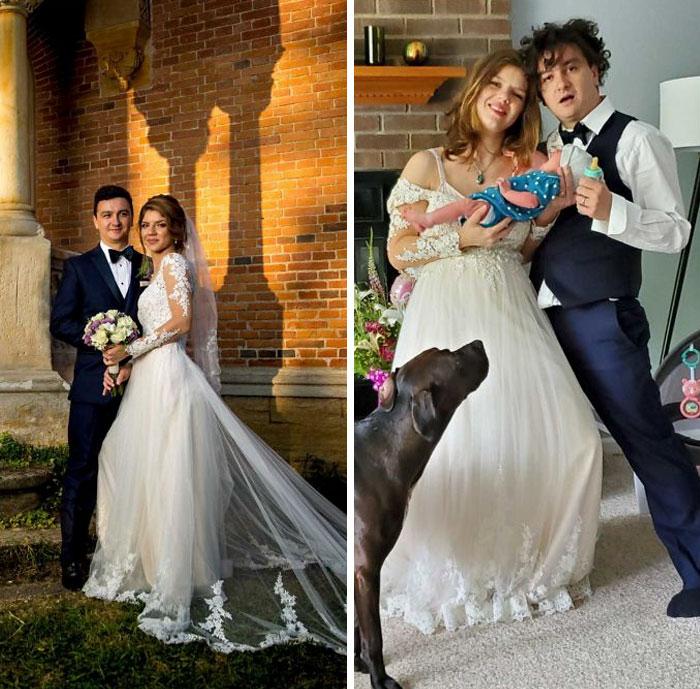 pareja de recién casados fuera de la iglesia posando para una foto, junto a su foto después de ser padres
