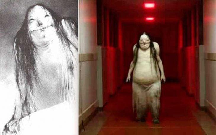 Comparación de las ilustraciones de Alvin y los personas creados por Guillermo del Toro para Historias de miedo para contar en la oscuridad