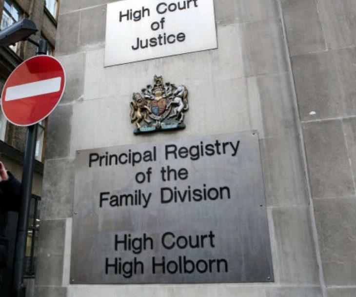 Letrero de la División de Familia del Supremo Tribunal de Londres