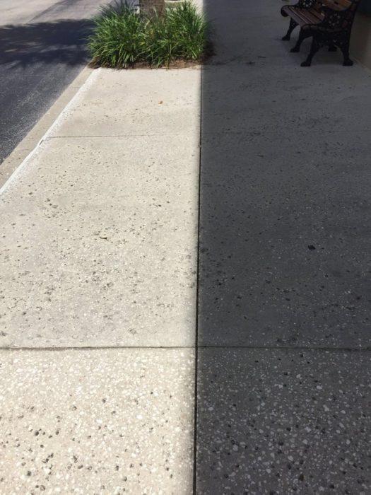 Sombra alineada perfectamente con la línea de la acera