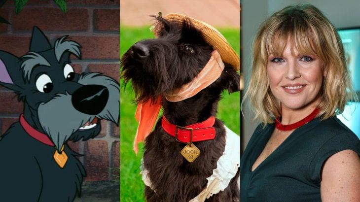 Live action de La Dama y el Vagabundo de Disney; Ashley Jensen como Jock; schnauzer negro con sombrero