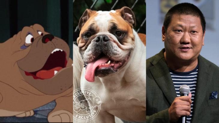 Live action de La Dama y el Vagabundo de Disney; Benedict Wong como Bull; bullgog blanco con café
