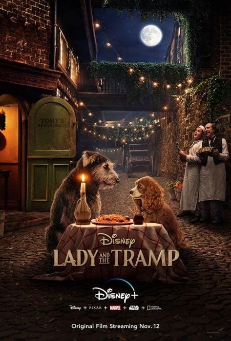 Escena de la nueva película live action de Disney La dama y el vagabundo. Perritos cenando en un restaurante