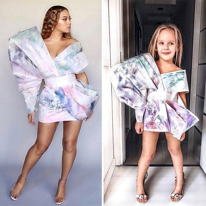 Beyoncé junto a Alya Chaglar llevando un vestido similar creado por Stefani Chaglar