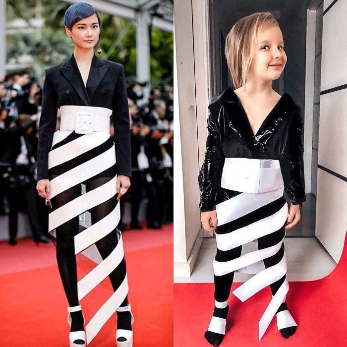 Chris Lee junto a Alya Chaglar llevando un vestido similar creado por Stefani Chaglar