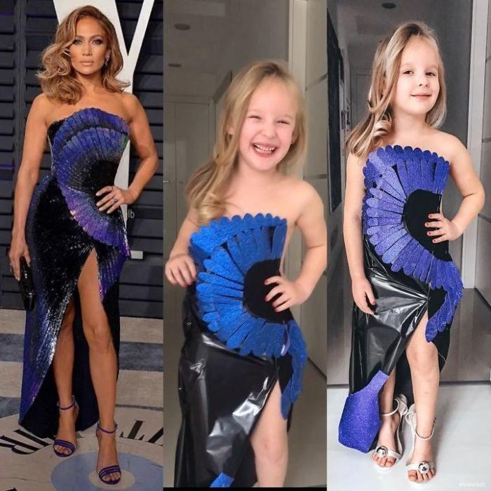 Jennifer López junto a Alya Chaglar llevando un vestido similar creado por Stefani Chaglar