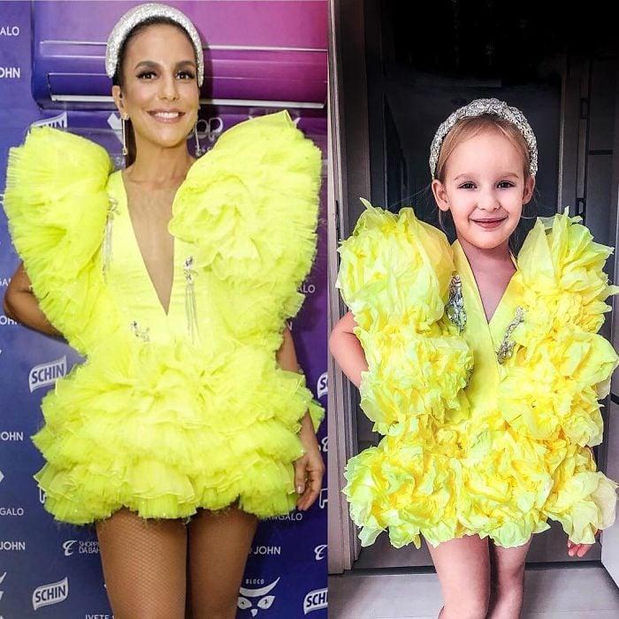 Ivete Sangalo junto a Alya Chaglar llevando un vestido similar creado por Stefani Chaglar