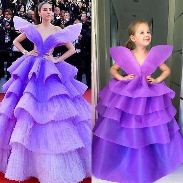 Sirita Jensen junto a Alya Chaglar llevando un vestido similar creado por Stefani Chaglar
