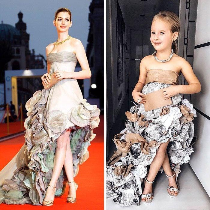 Anne Hathaway junto a Alya Chaglar llevando un vestido similar creado por Stefani Chaglar