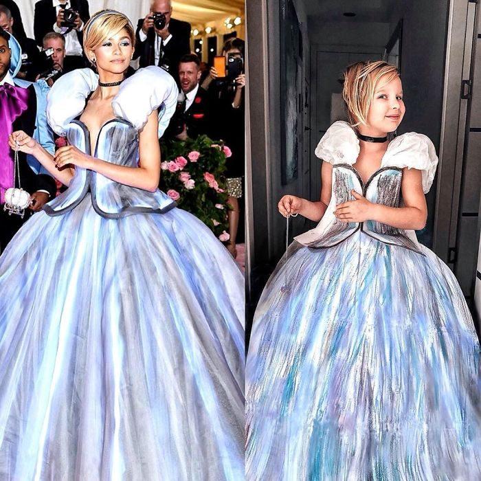 Zendaya junto a Alya Chaglar llevando un vestido similar creado por Stefani Chaglar