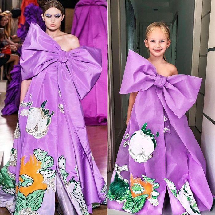 Gigi Hadid junto a Alya Chaglar llevando un vestido similar creado por Stefani Chaglar