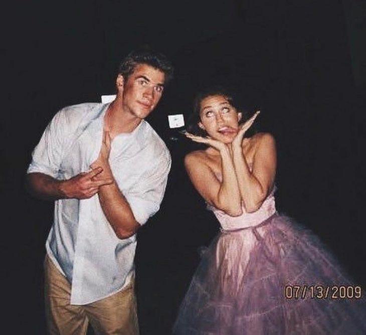 Miley Cyrus y Liam Hemsworth de jóvenes