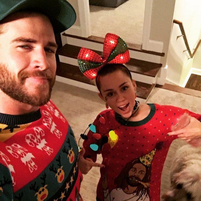 Miley Cyrus y Liam Hemsworth en Navidad