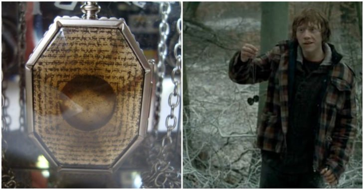 Ron Weasley sosteniendo el guardapelo de Salazar Slytherin
