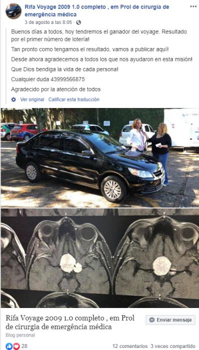 Publicación de Facebook que anunciaba la rifa del vehículo para pagar la cirugía de Margarete Mormul