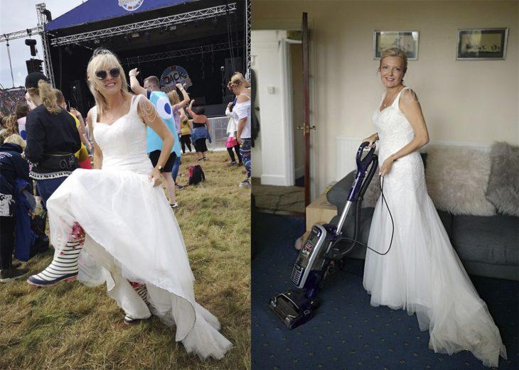 Mujer usando un vestido de novia para ir al supermercado y para limpiar la casa