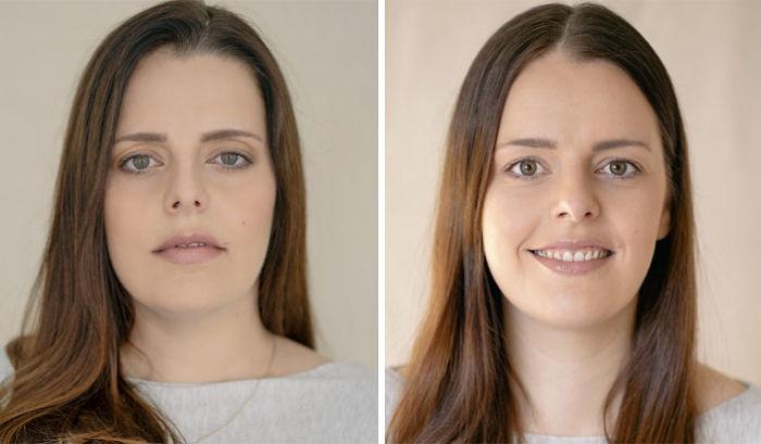 Mujer rubia antes y después de haber tenido a su primer hijo