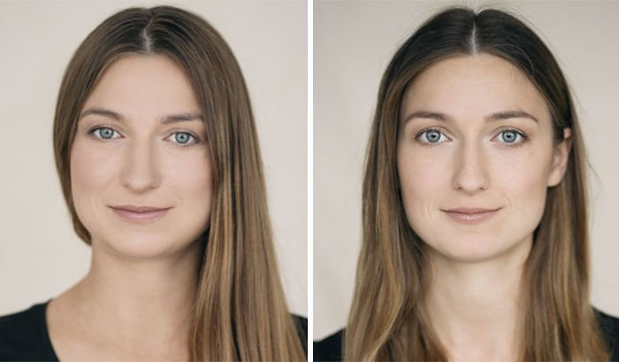 Mujer antes y después de haber tenido a su primer hijo