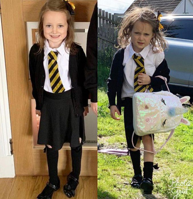 Lucie, niña antes y después de su primer día de clases