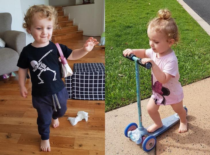 Joanna Minuzzo dejó que su hijo usara vestido azul el día de su boda; niño en monopatín con blusa de Minnie Mouse