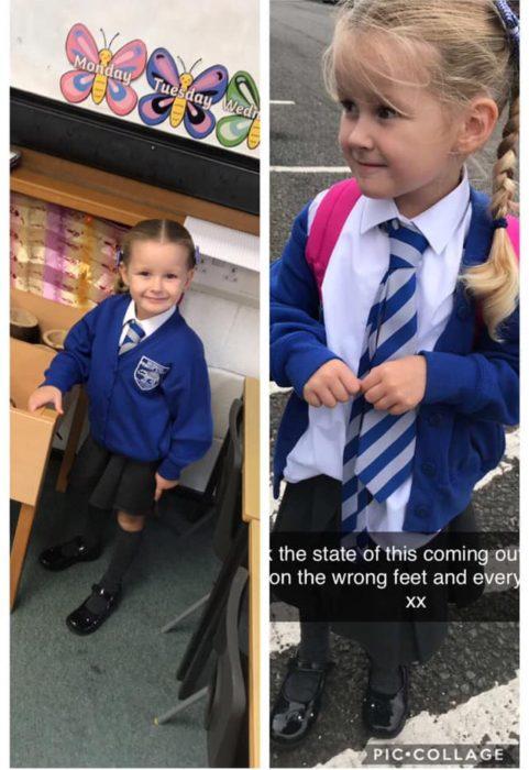 Niños antes y después de su primer día de clases
