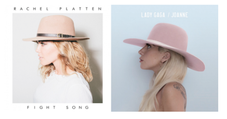 comparación de la portada de Joanne con Fight Song