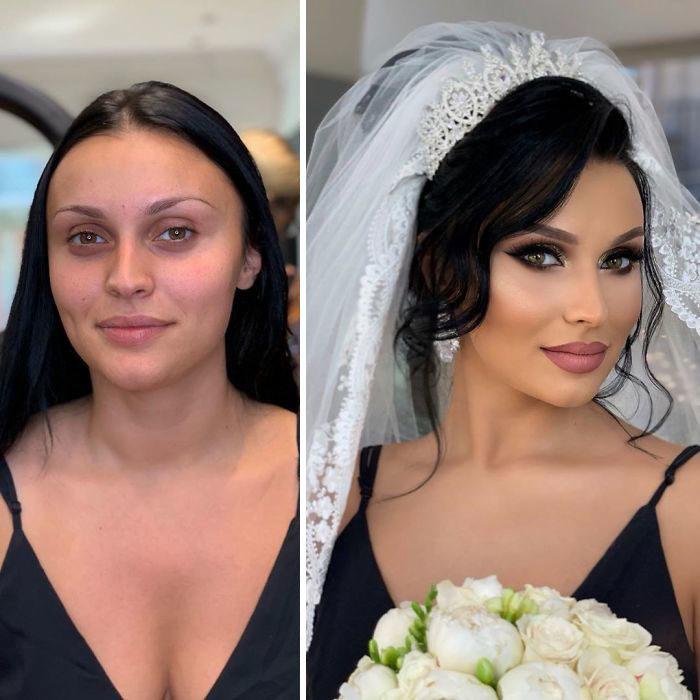 Chica usando blusa de tirantes en negro antes y después de ser maquillada para su boda