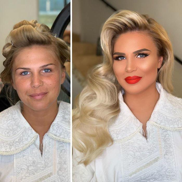 Mujer con bata blanca y tubos en la cabeza antes y después de ser maquillada para su boda