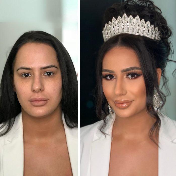 Mujer con bata blanca antes y después de ser maquillada para su boda