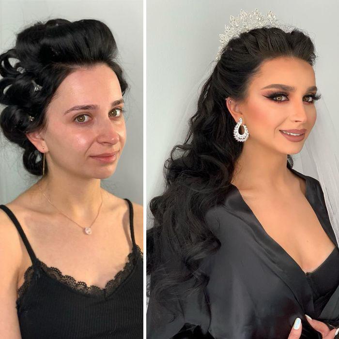 Chica con pijama negra antes y después de ser maquillada para su boda