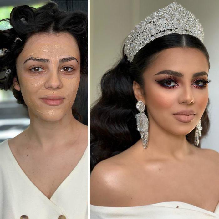 Chica usando una corona plateada antes y después de ser maquillada para su boda