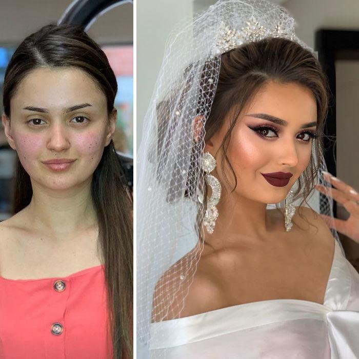 Chica con vestido rosa palo antes y después de ser maquillada para su boda