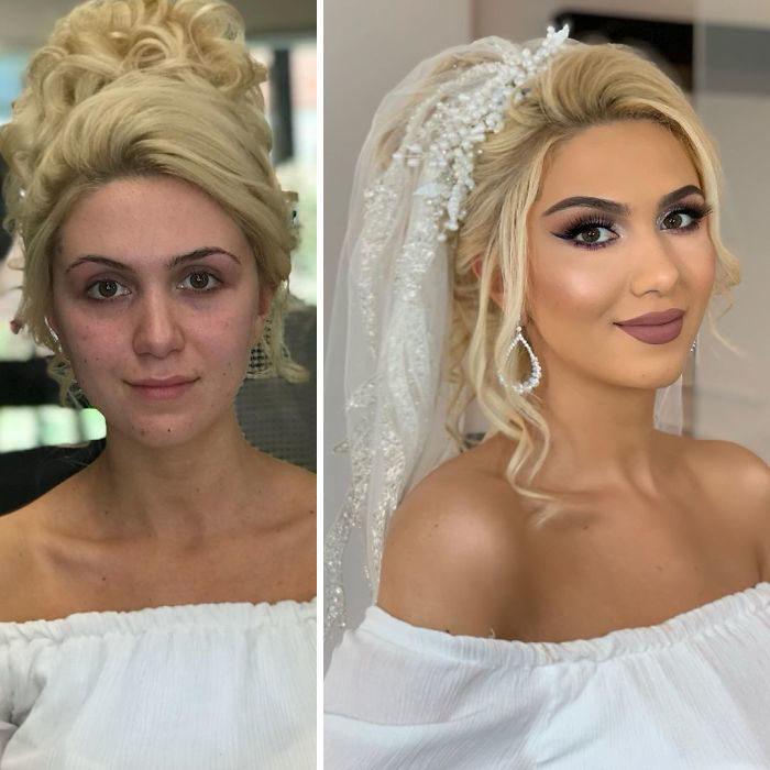 Chica con vestido descubierto en hombros antes y después de ser maquillada para su boda