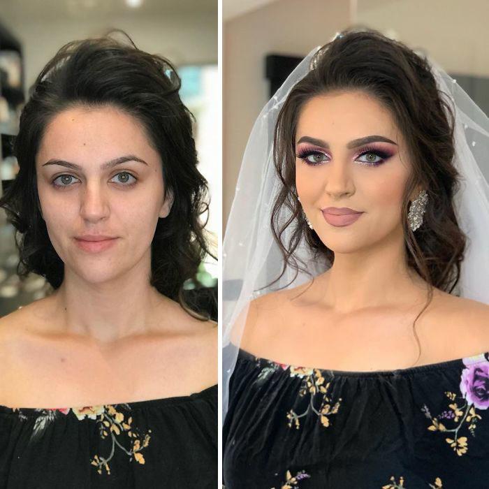Chica en vestido negro a flores antes y después de ser maquillada para su boda