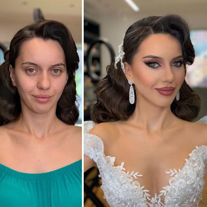 Novia antes y después de ser maquillada para su boda por Arber Bytgi