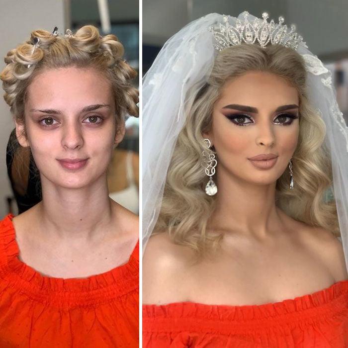 Mujer con vestido rojo antes y después de ser maquillada para su boda