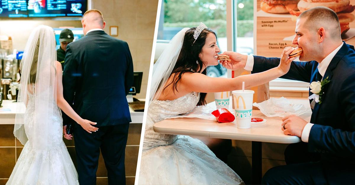 Pareja tiene su primera cena como esposos en McDonald's