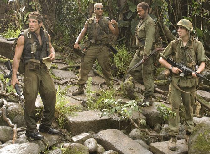 Ben Stiller en la película Tropic Thunder, ¡una guerra muy perra!