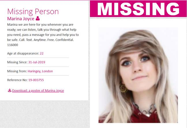anuncio de Marina Joyce en Missing People de Reino Unido