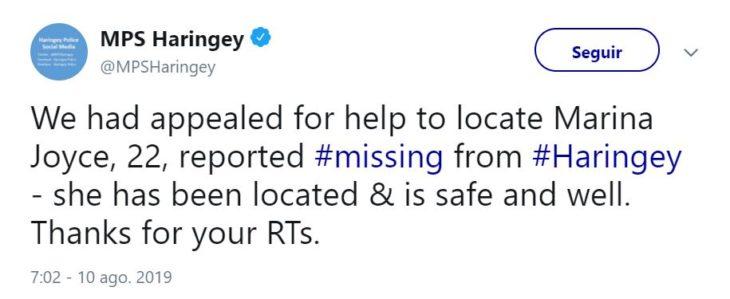 Tuit de la policía de Haringey anunciando la aparición de Marina Joyce