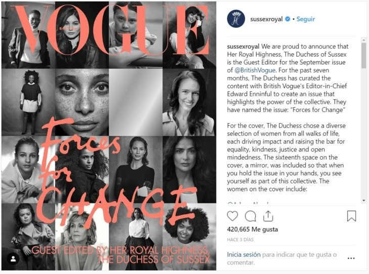 publicación de la página de la duquesa y el duque Sussex sobre la intervención de Meghan Markle en British Vogue